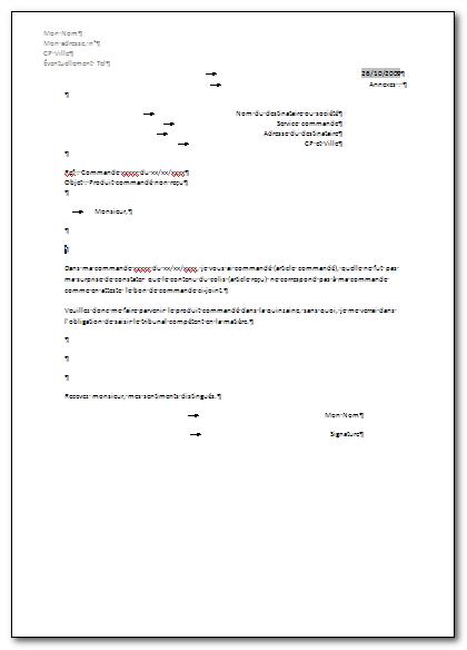lettre type commande Exemples de lettres type lettre type commande
