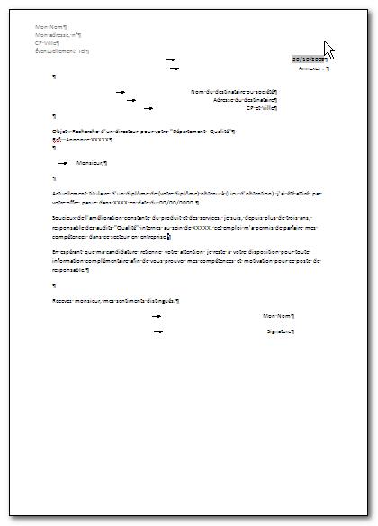 exemples de lettres type